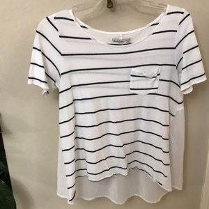 White and black striped Abercrombie kids blouse
